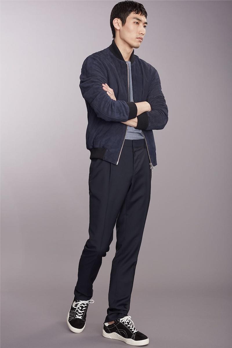 Oliver Spencer Contrast-Edge Suede Bomber Jacket