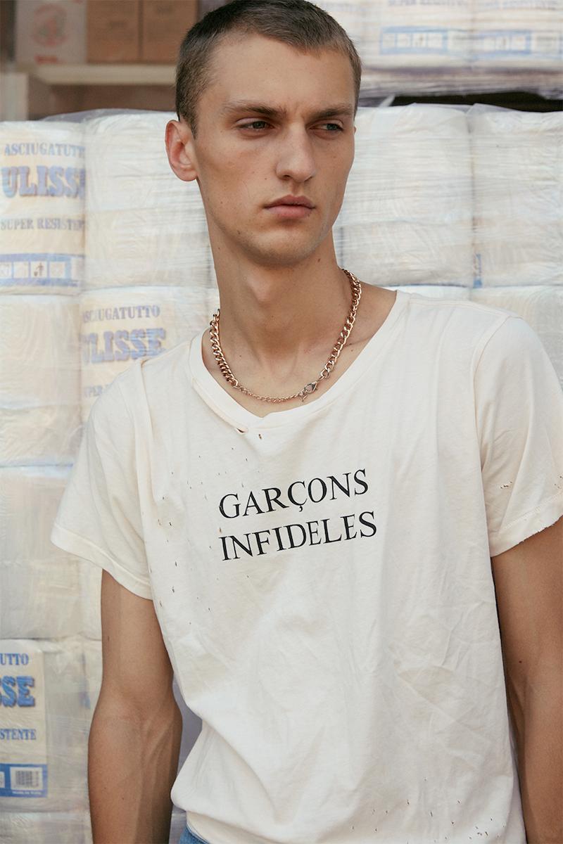 Garcons Infideles Logo Printed Distressed Jersey T-Shirt