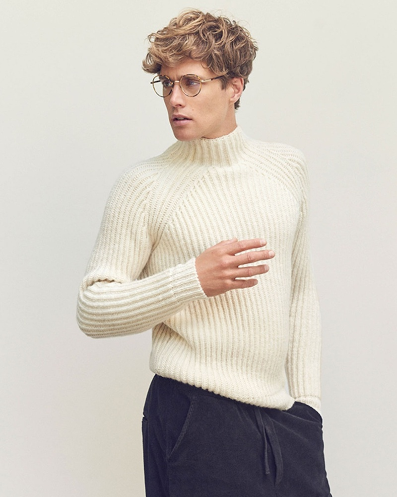 De Bonne Facture High-Neck Ribbed Sweater