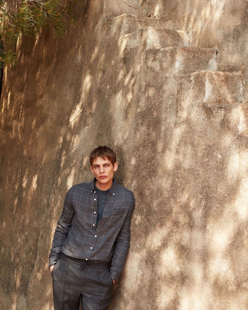 Saturdays NYC Crosby Windowpane-Check Flannel Shirt