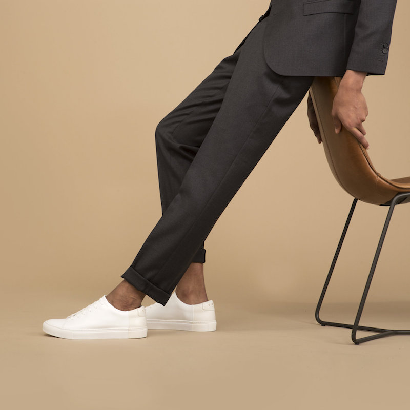 THEY New York Two-Tone Low Sneakers in White-Beige