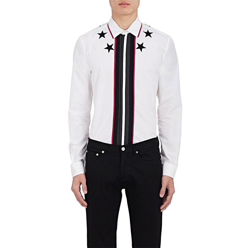 Givenchy Star-Embroidered Cotton Poplin Shirt