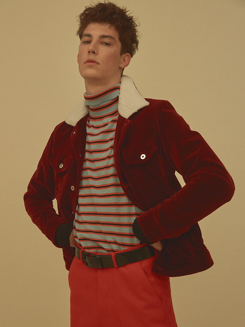 Route Des Garden Velvet Jacket with Faux Shearling Collar