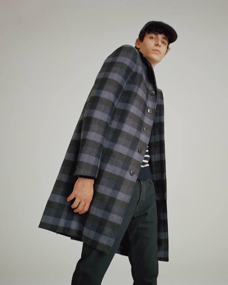 Valentino Detachable-Collar Checked Wool Coat