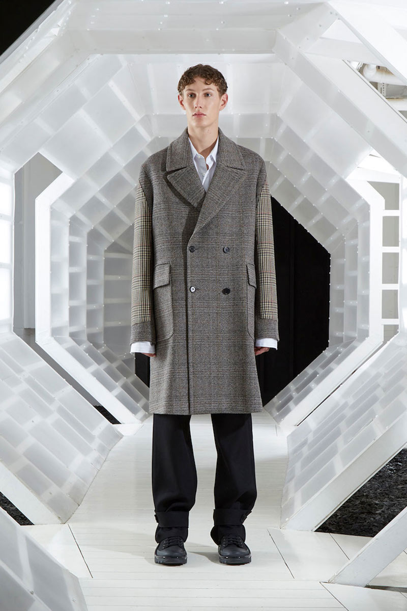Stella McCartney Oversized Herringbone Contrast Checked Coat