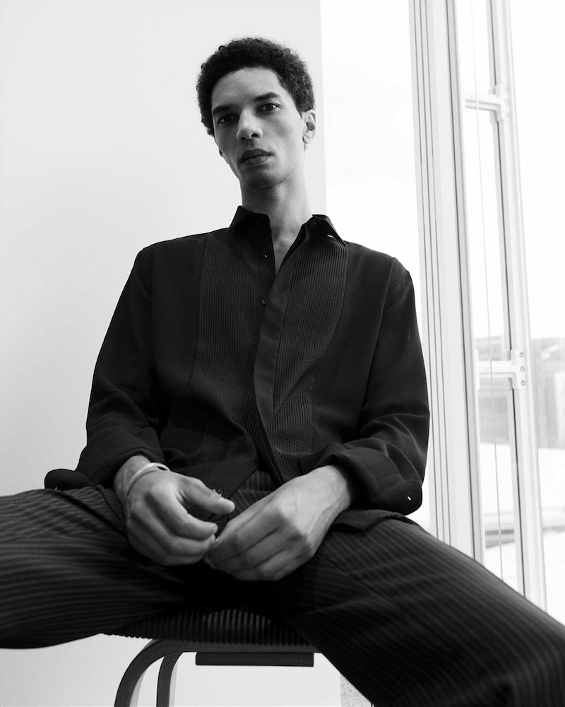 Saint Laurent Pleated Single-Cuff Cotton Shirt