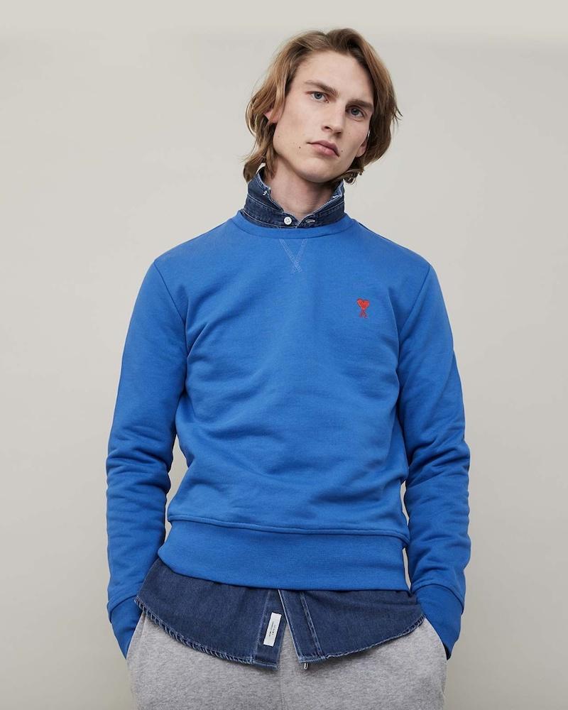 AMI Logo-Embroidered Cotton Sweatshirt