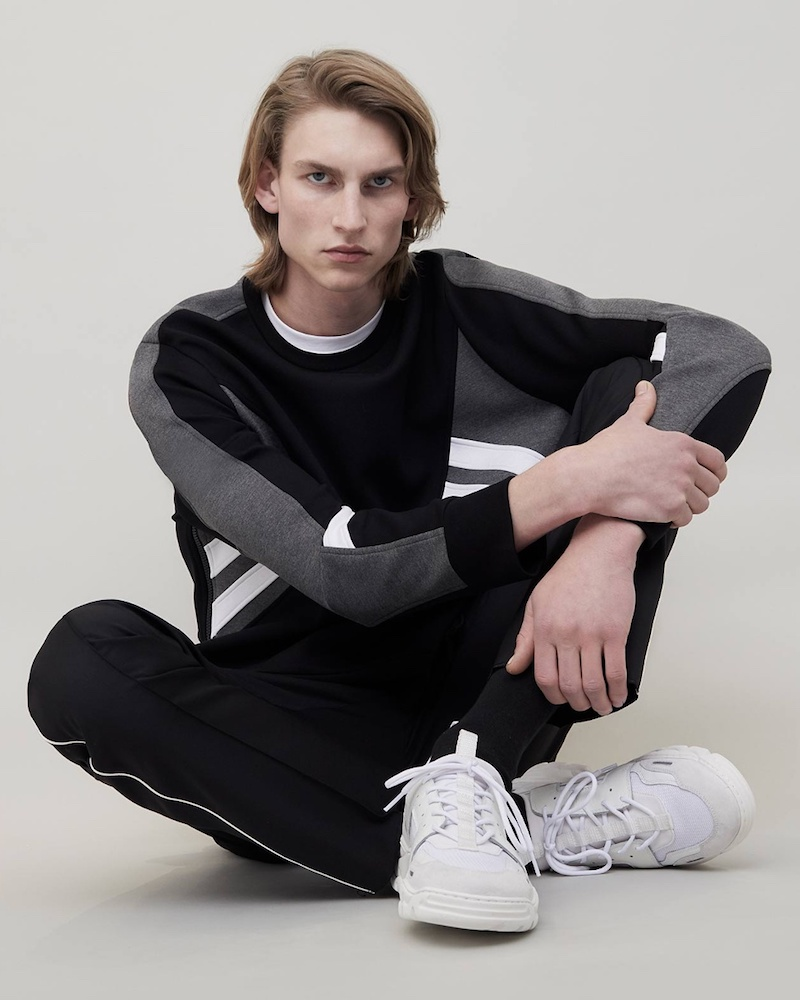 Neil Barrett Tri-Colour Zip-Side Jersey Sweatshirt
