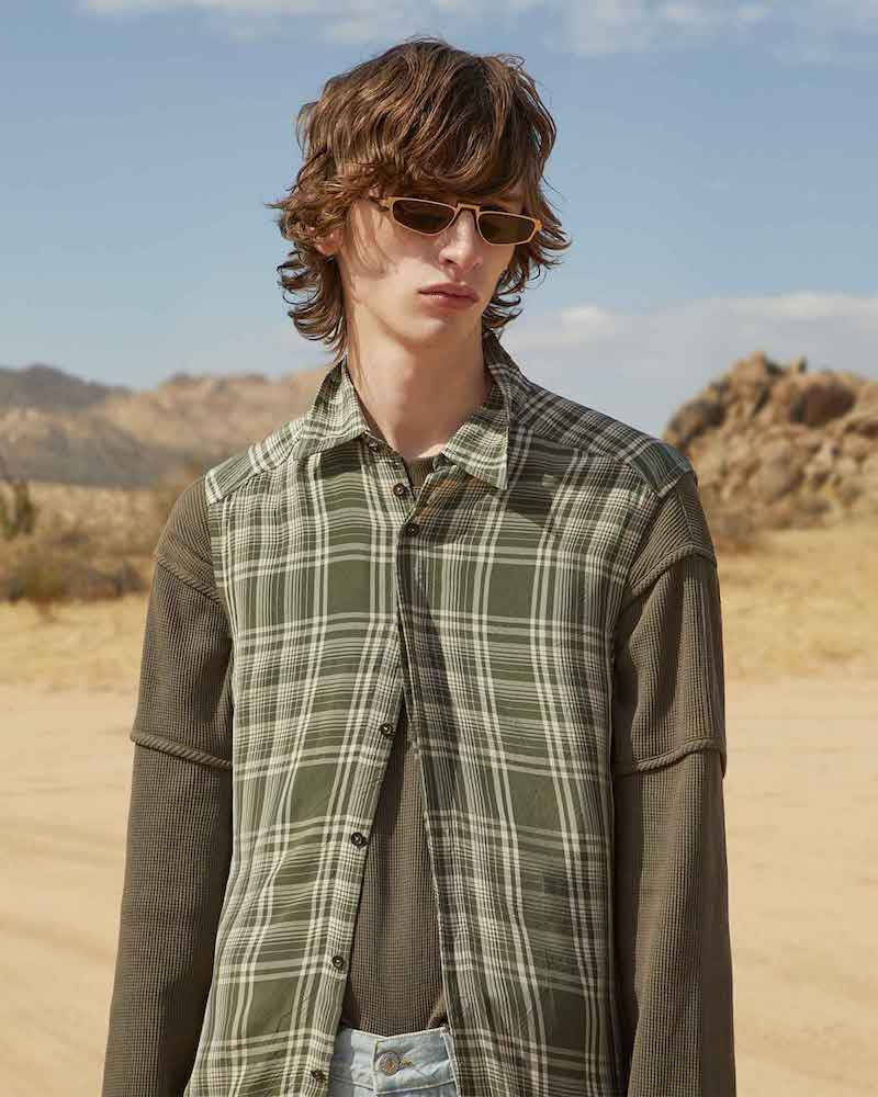Wales Bonner Contrast-Sleeve Checked Shirt