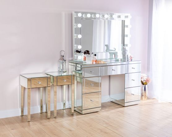 monroe silver mirrored dressing table set with 2 x 1 drawer bedside tables and large hollywood mirror