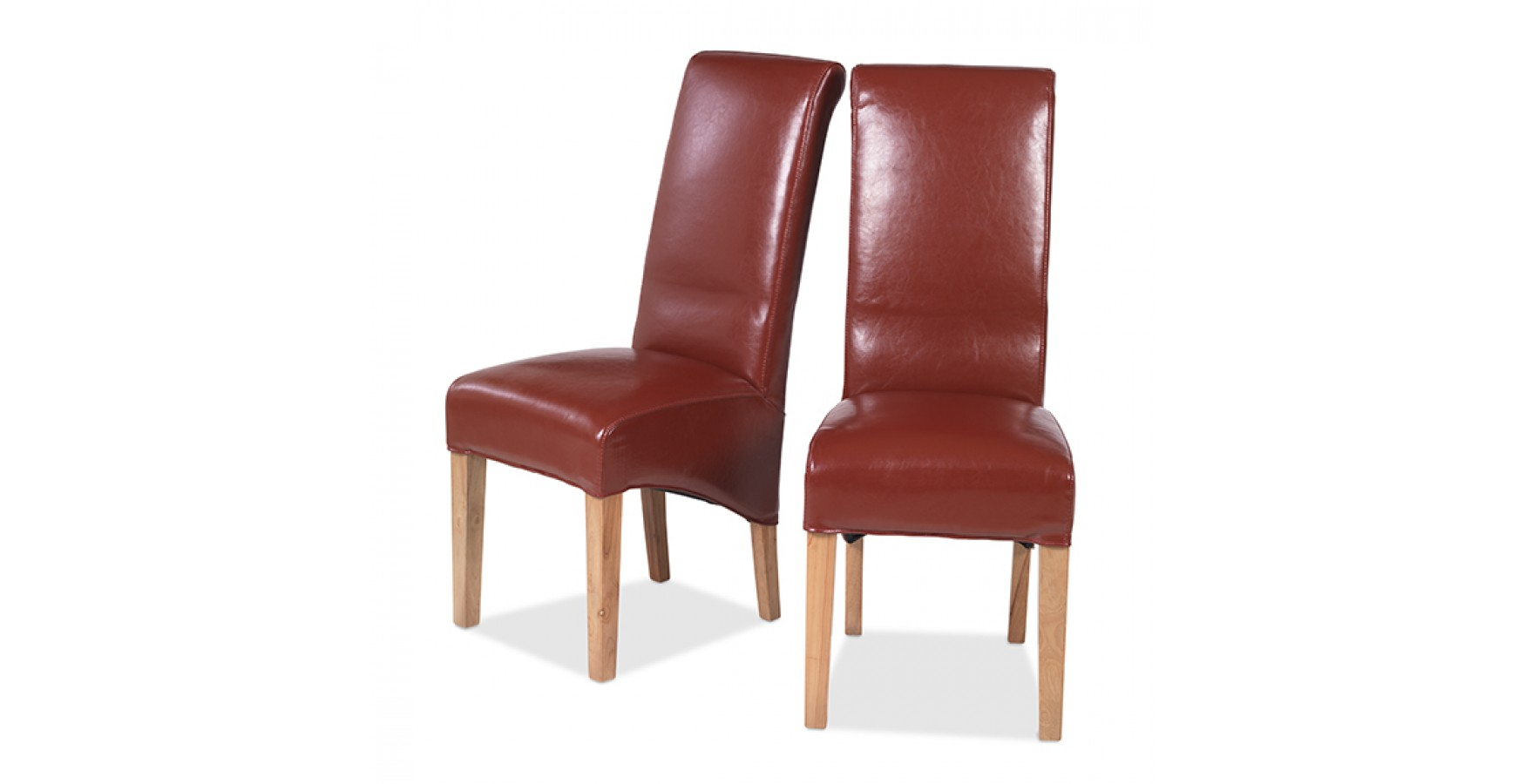 Cuba Oak Bonded Leather Dining Chairs Red  Pair