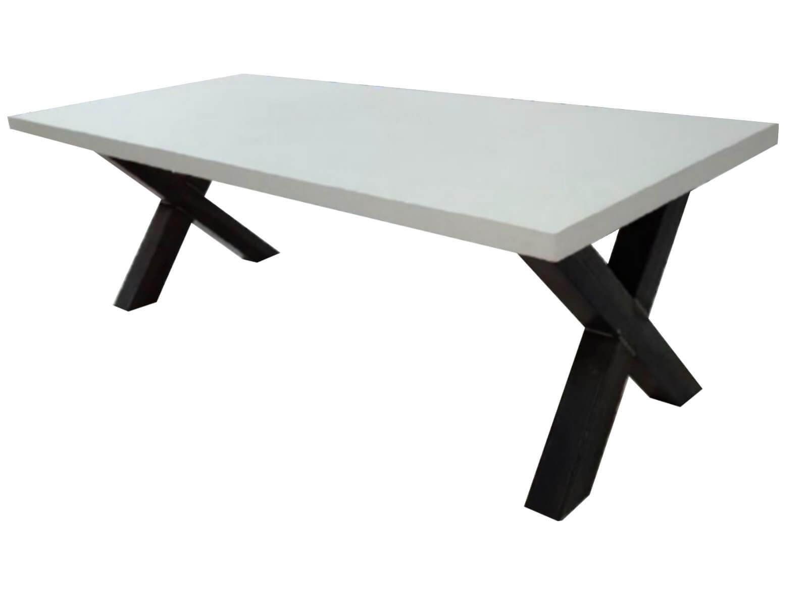 Tafel X Poot : Betonlook eettafel met poot lifestylemaison industriele meubels