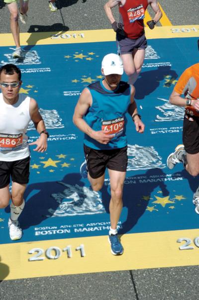 Chiropractor running the Boston Marathon