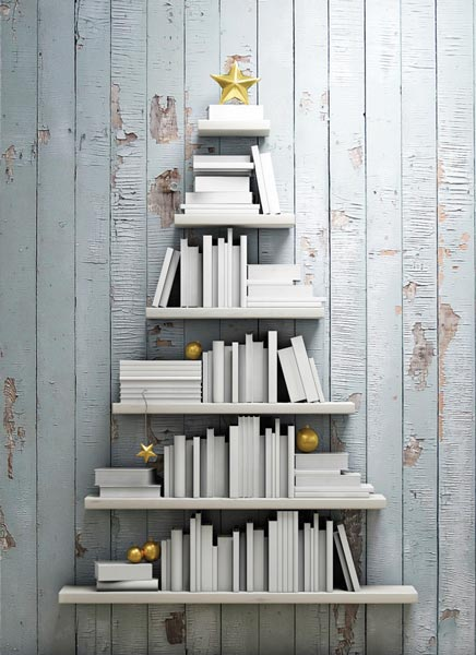 decorating with white - whit book covers