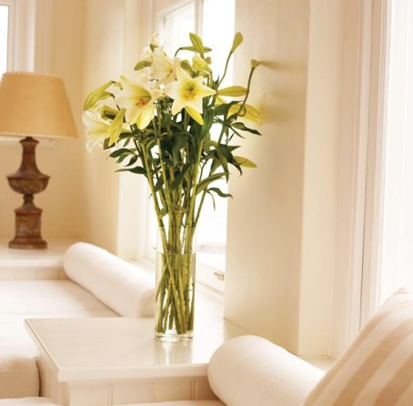 decorating in white, flowers