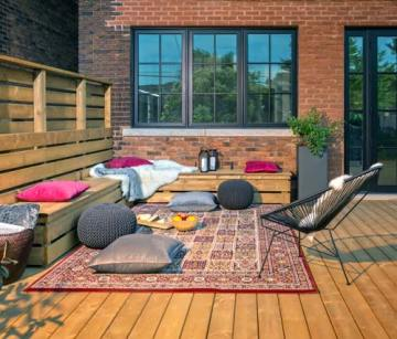 backyard deck defining space with colour