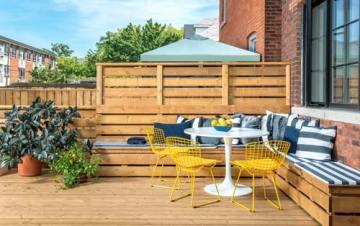 patio seating on yard deck