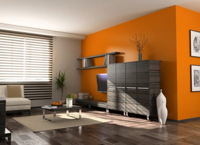 room with bold orange colour paint