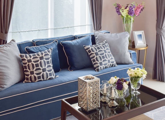 bold colours in living room