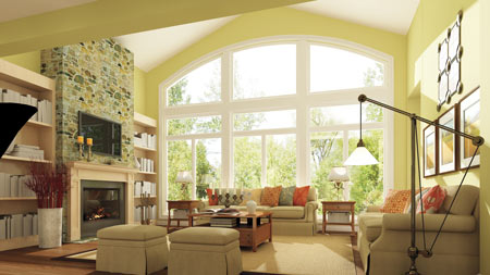 living room interior big windows