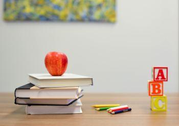 kids school books on desk