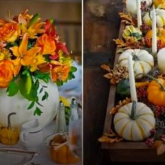 Cute Fall Decorating Ideas Using White Pumpkins