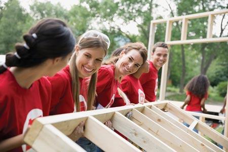 volunteers helping rebuild