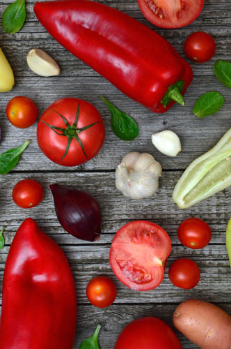assortment of vegetables on cutting board for cooking