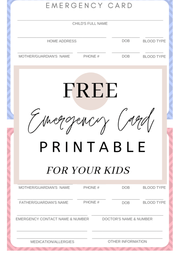 Free Printable Emergency Cards for Your Kids