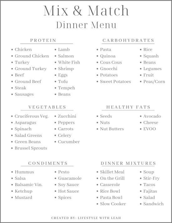 mix and match dinner menu meal plan