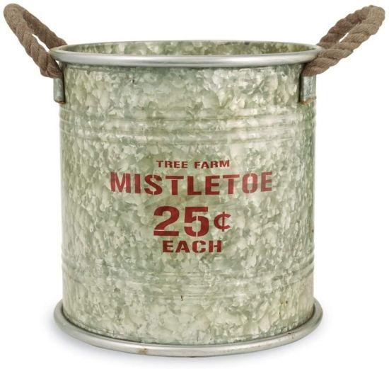 Christmas decor tin bucket