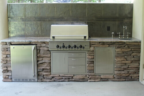 grill for outdoor kitchen industrial looking ideas kitchens lifetime enclosures 10ft stone face