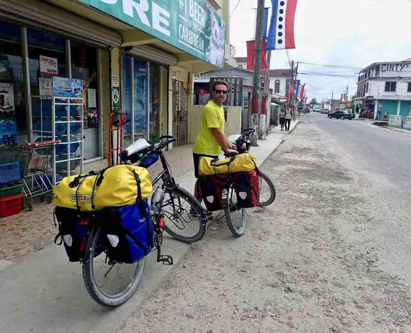 Bicycle touring through Belize - Waiting outside a small store