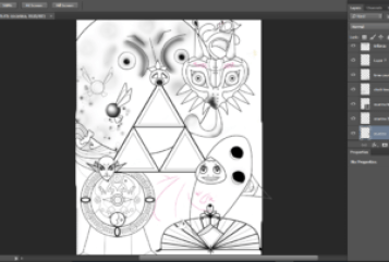 majoras mask coloring book page in progress