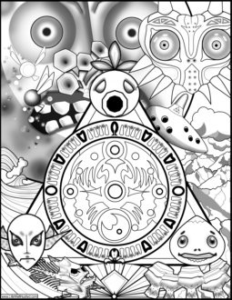 Legend of Zelda: Majora\'s Mask Coloring Book Page - Life Well Hustled