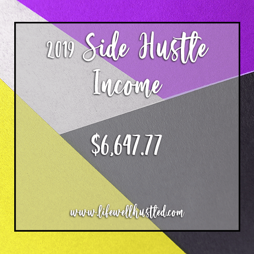 Side Hustle Income Report, 2019 – $6,647.77