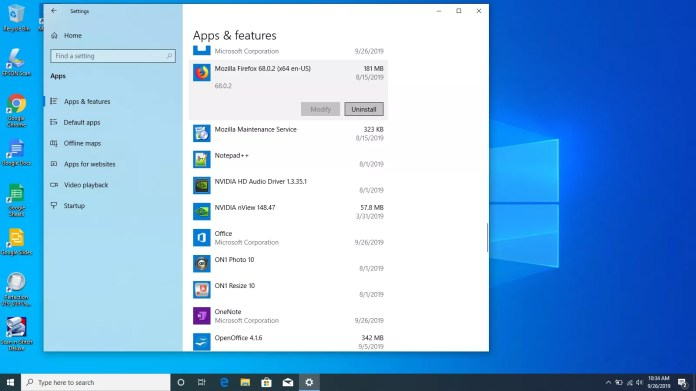 Selecting an app to uninstall in Windows 10.