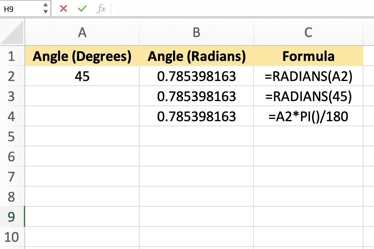 How To Convert Angles From Degrees To Radians In Excel