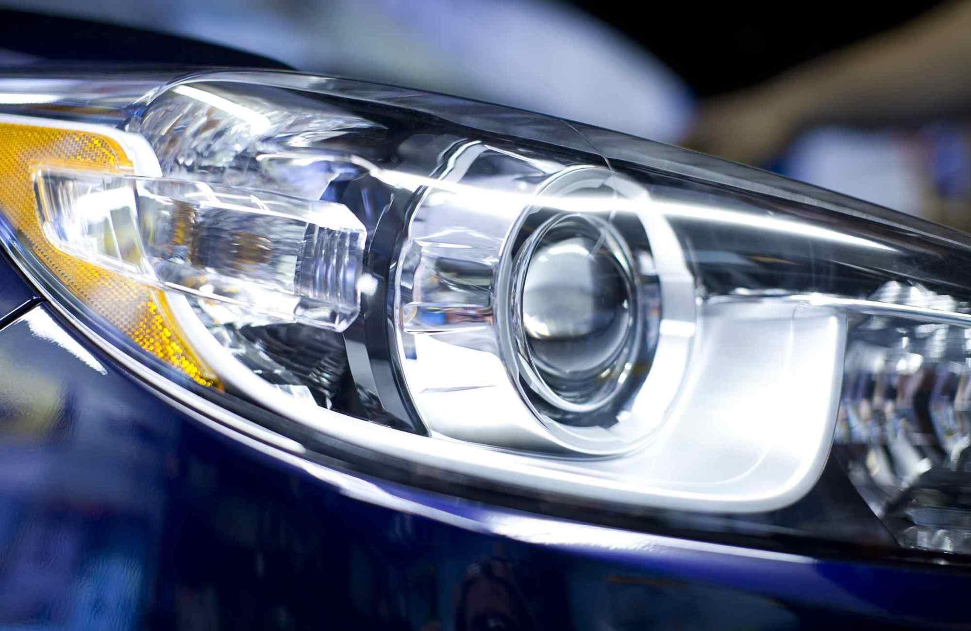 hight resolution of hid headlight closeup
