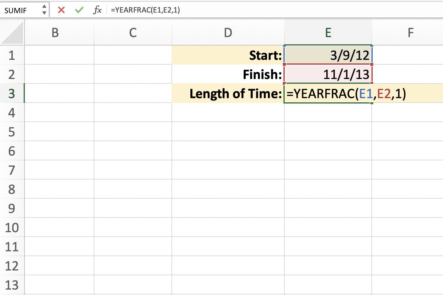 Excel Yearfrac Finds Fractions Of A Year Between Dates