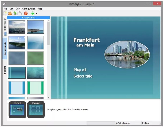 A screenshot of the DVDStyler software for burning DVDs.
