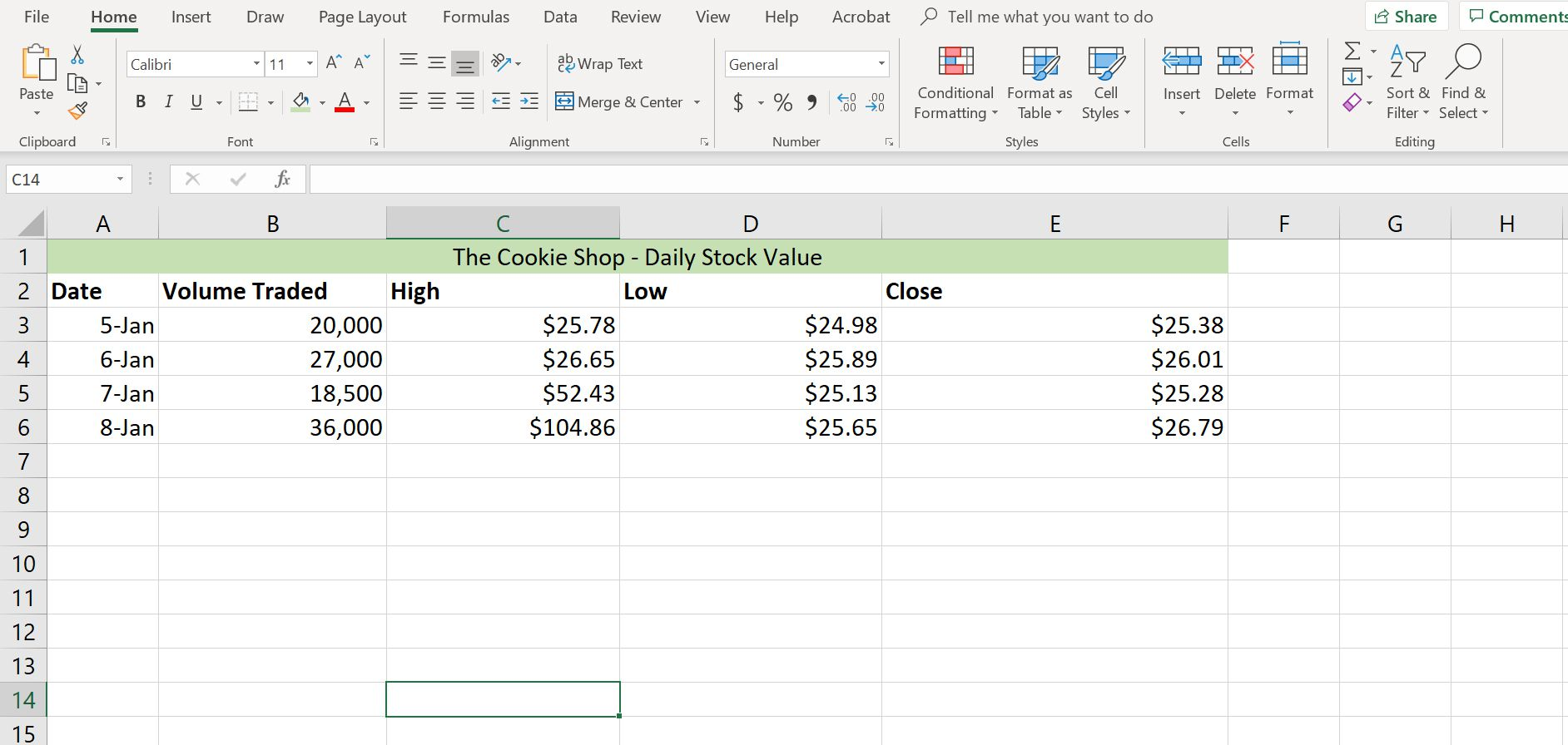 Worksheet Headings Excel Format