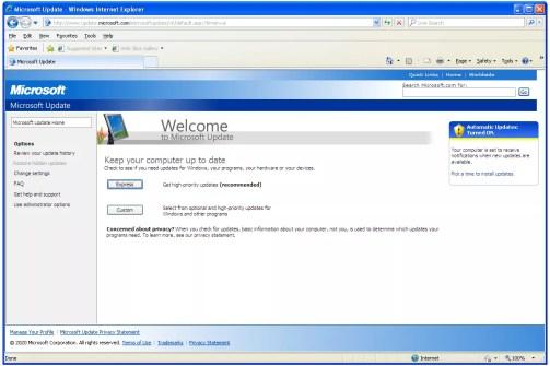 Windows Update website in Windows XP