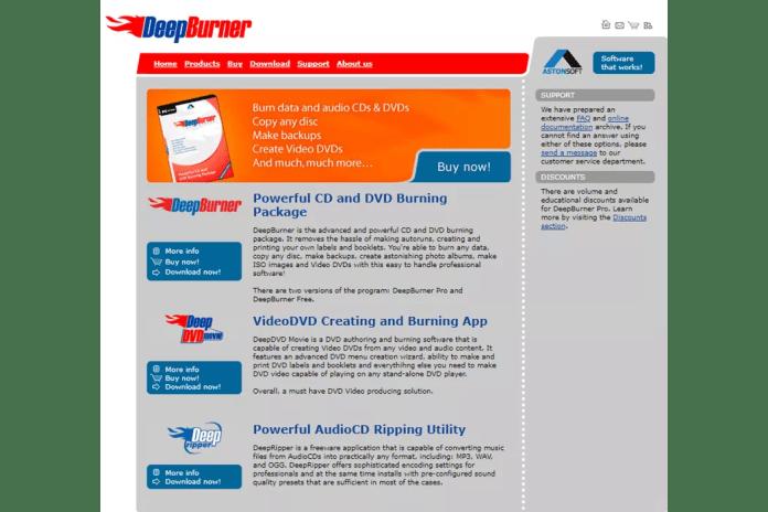 A screenshot of the DeepBurner website.