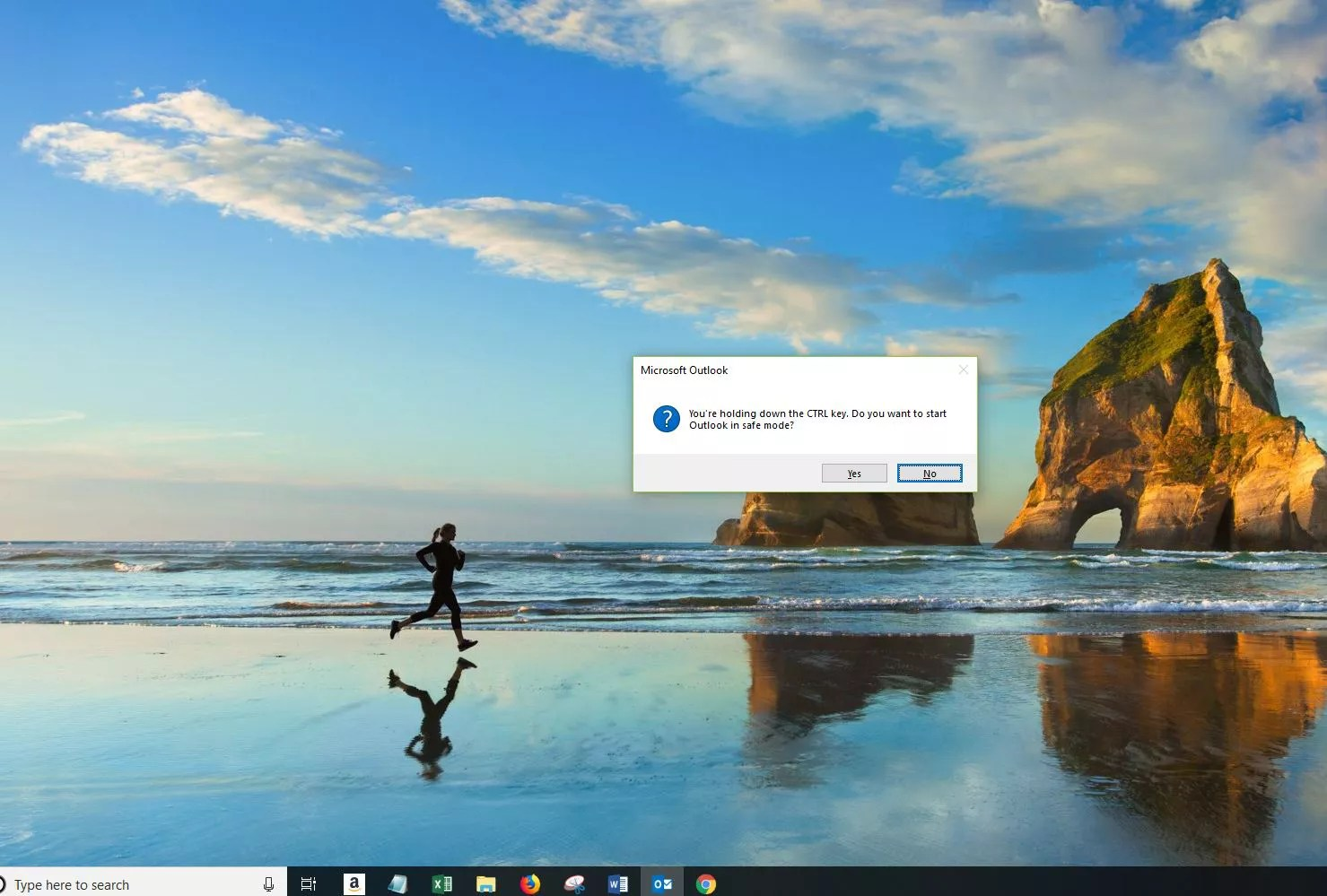 Screenshot of Safe Mode Confirmation window