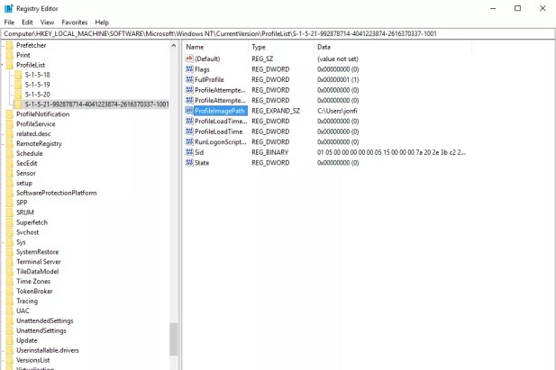 Screenshot of the ProfileImagePath value in Registry Editor for a SID in the ProfileList key