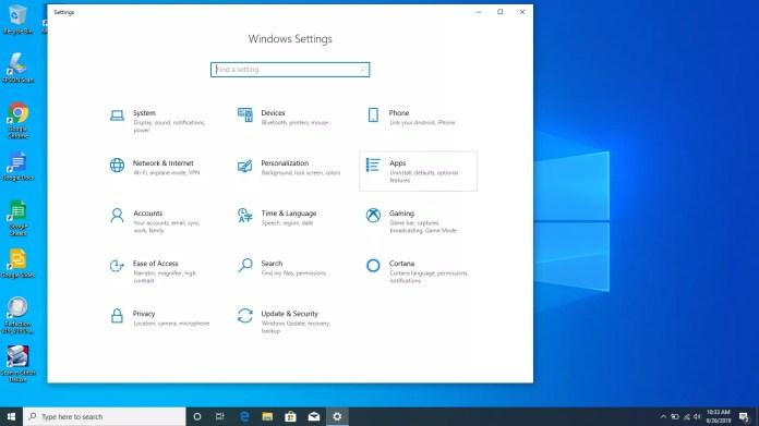 Windows Settings in Windows 10.