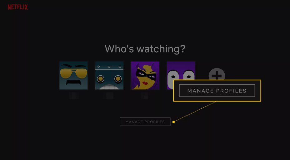 Manage Profiles button on Netflix home page