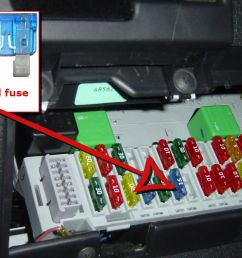 car fuse box with good and blown fuse examples [ 1400 x 774 Pixel ]