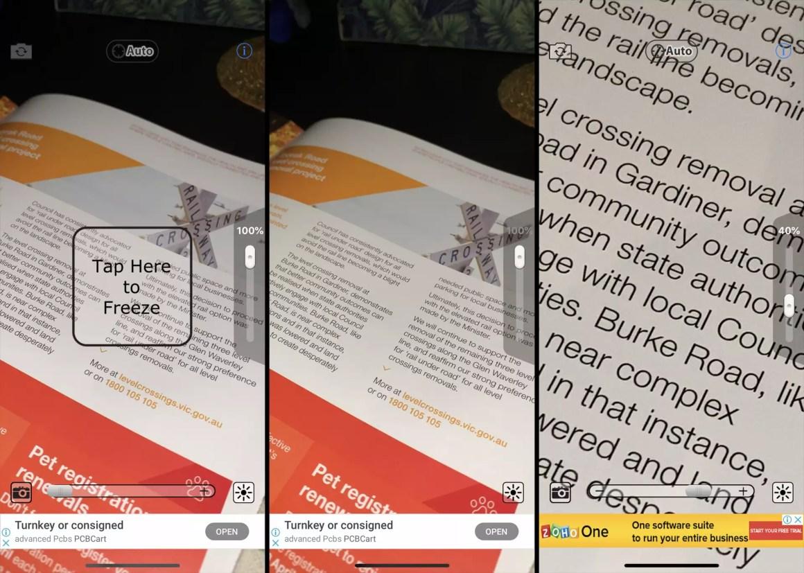 Увеличительное стекло с приложением Light на iPhone XS.